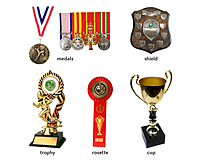 Trophy medals and shields